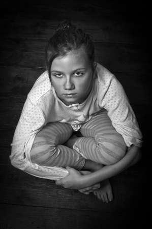 homeless children: Neglected child Stock Photo