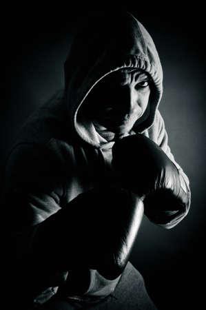 pugilist: Boxeador listo para luchar Foto de archivo