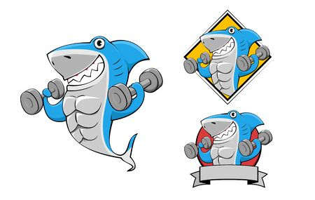smile shark exercise bodybuilding cartoon illustration fitness mascot