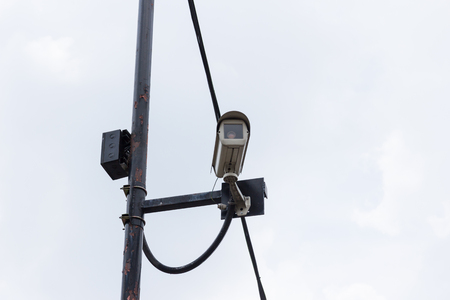 CCTV cameras system installed at the intersection,Traffic intersection signal surveillance camera photo