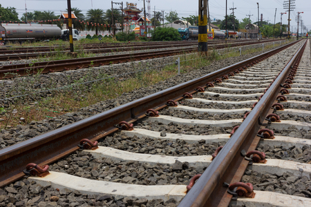 pepples: Close up of railroad track in bright sunshine