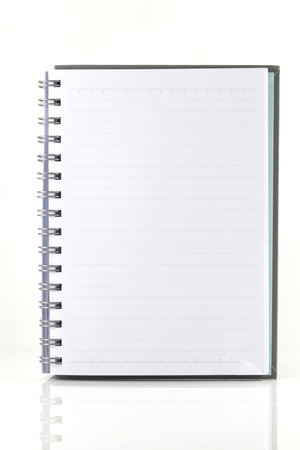 hardback: white note book isolate on white background
