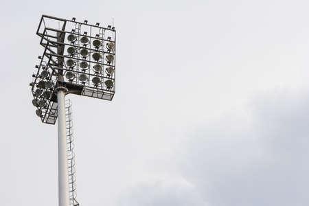 football stadium floodlight isolate on white backgrounf photo
