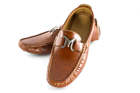 Men shoes in brown color isolate on white background photo