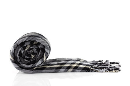 Scarf black plaid isolate on white background photo