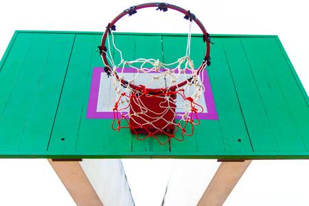 Wooden basketball hoop photo