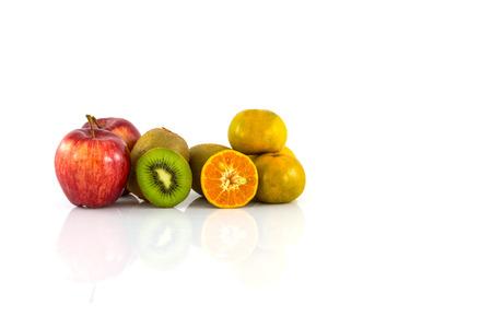Apple, kiwi and orange isolate on white background photo