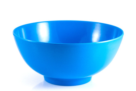 empty blue bowl isolated on white background