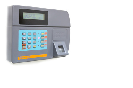 finger scan and card reader unit isolate on white background photo