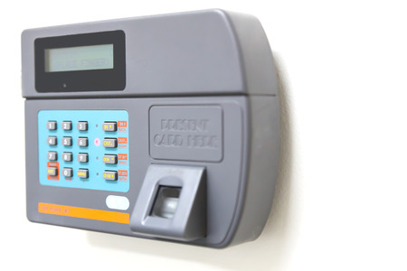 finger scan and card reader unit isolate on white background 스톡 콘텐츠