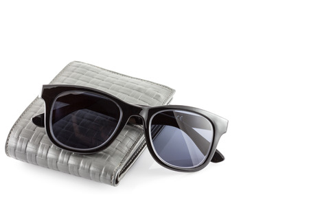 Mens Wallets and sunglasses isolate in white background photo