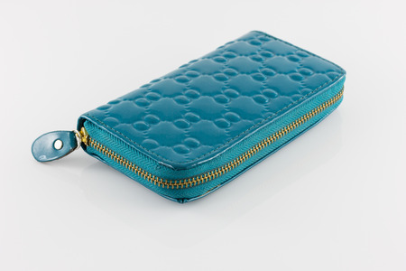 Green ladies wallet isolate on white background photo