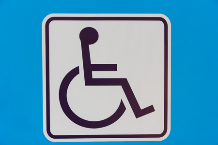 Handicaps sign restroom modern on blue background photo