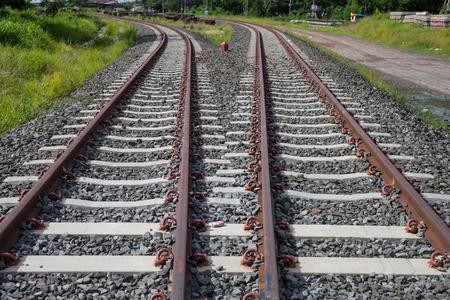 Railway, Railroad, Train Tracks, With Green Pasture photo