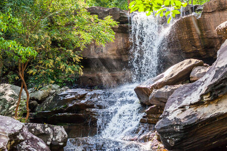 cataract falls: Tropical waterfall in rain forest ,Nature