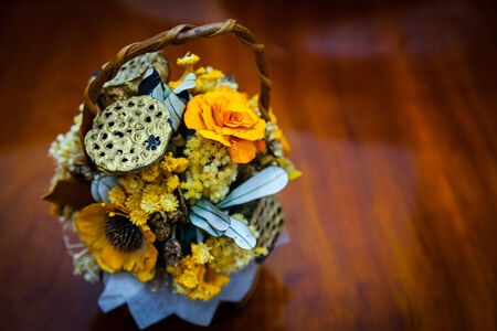 veronica flower: Dried floral bouquet in a basket, Nature