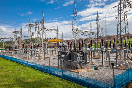 isolator insulator: Part of high-voltage substation with switches and disconnectors, Thailand