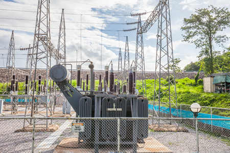 isolator switch: Part of high-voltage substation with switches and disconnectors, Thailand