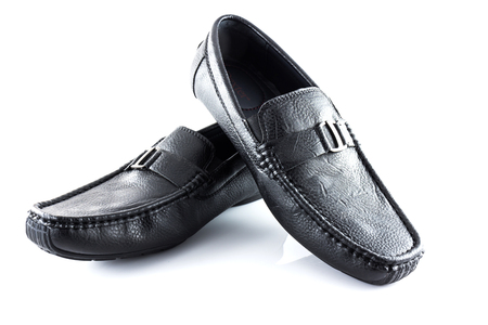 shoestrings: Pair of black male classic shoes on white background, Isolate