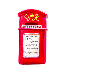 Small postbox model for show on white background photo