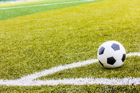 Soccer grass field with marking and ball, Sport photo
