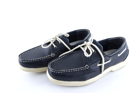 Leather blue color man shoes  on a white background photo