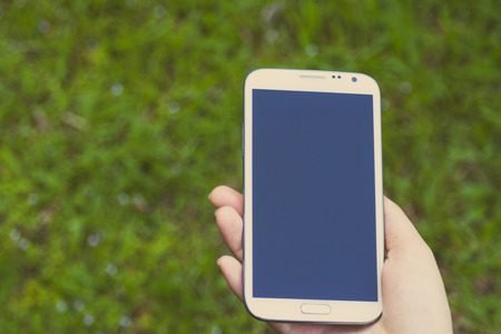 female hands using a smart phone, green nature background photo