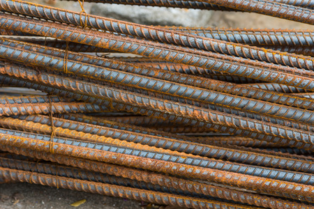 Steel rods or bars used to reinforce concrete photo