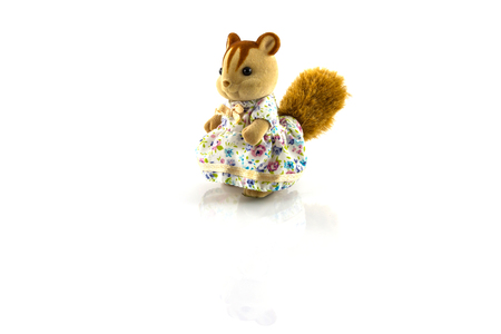 squirrel toy wearing  dress on white background photo