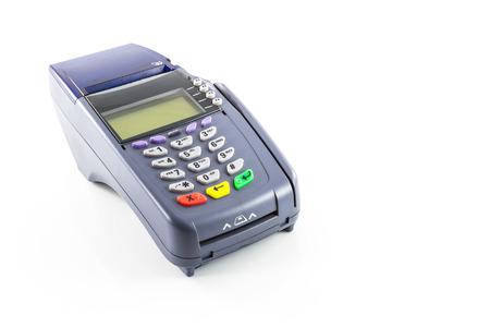 credit card reader machine on white background photo