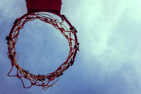 intramural: Vintage Basketball hoop and sky ,Sport