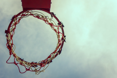 Vintage Basketball hoop and sky ,Sport