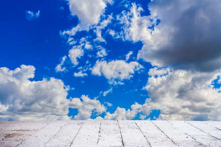 Dramatic cloudscape sky in summer day, mass of cloud sluggish in air with cement floor photo