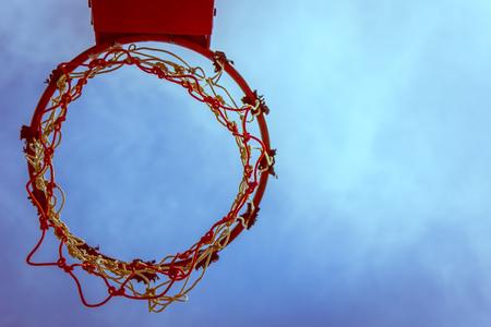 intramural: B&W Vintage Basketball hoop and sky ,Sport