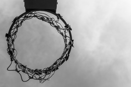 B&W Vintage Basketball hoop and sky ,Sport