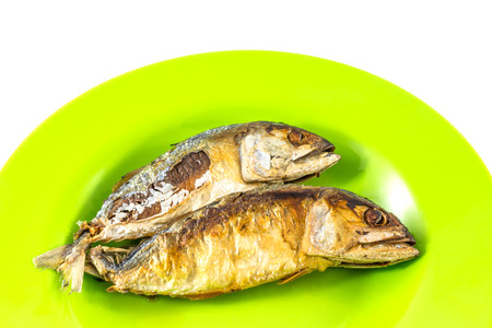 kerala culture: Fish fry side viewmackerel fry on green disk