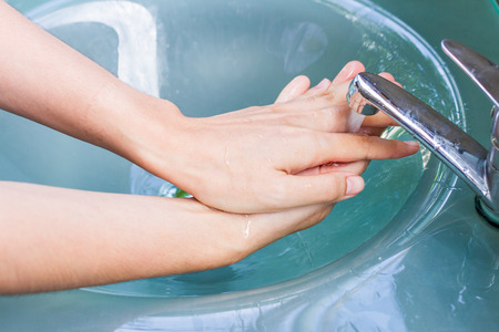 out door: washing hand and turn off faucet out door