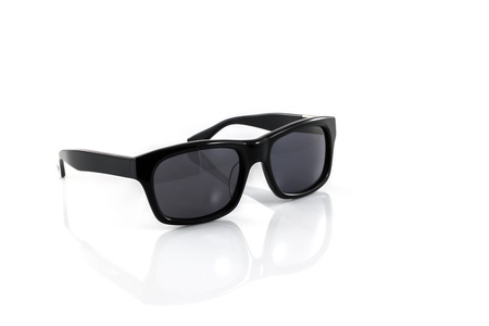 ray ban: Black glasses isolated on a white background Stock Photo