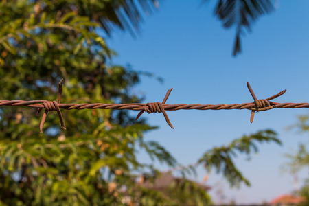 Fence  wire railing is rusty on green bokeh background photo