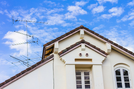 housetop: housetop with blue sky background Stock Photo