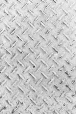 White of old metal diamond plate in silver color  photo