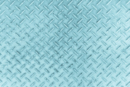 Blue of old metal diamond plate in silver color  photo