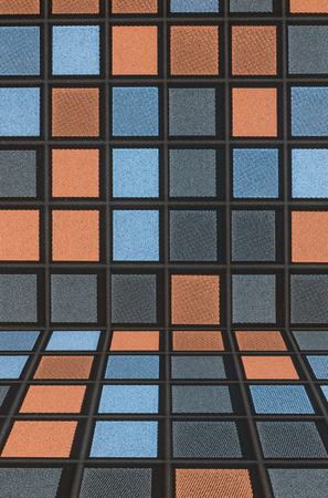 Black blue gray and orange Mosaic Tiles abstract background and texture photo