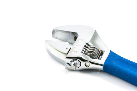 Silver Metal Monkey Wrench with blue handle on white Background photo