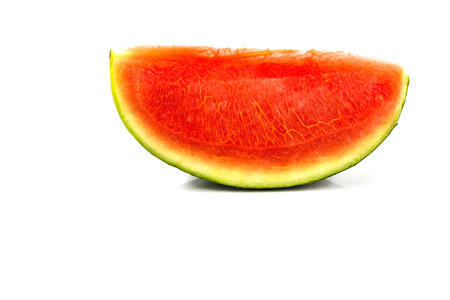 pulpy: seedless red watermelon slice  on white background