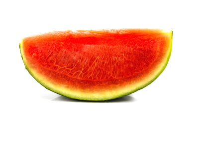 seedless: seedless red watermelon slice  on white background