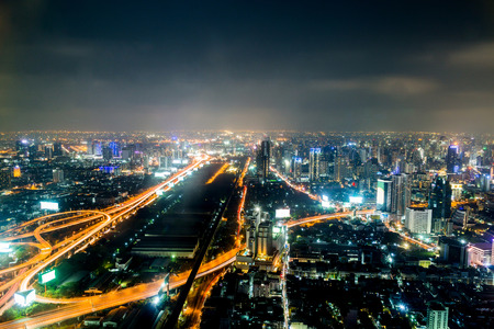Bangkok city at night, Thailand at nighttime photo