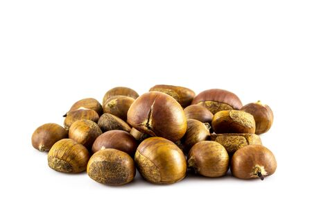 Fresh chestnuts isolated on white background photo
