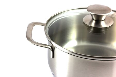 stainless steel pot: Stainless steel pot isolated on white background
