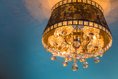 crystal chandelier: Close-up of a beautiful crystal chandelier with reflection Stock Photo